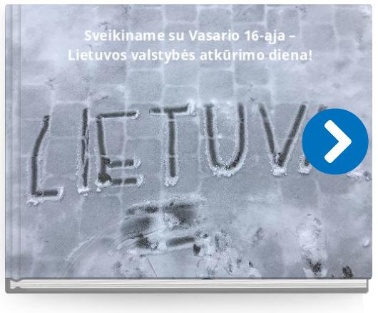 Book titled 'Sveikiname su Vasario 16-ąja –Lietuvos valstybės atkūrimo diena!'